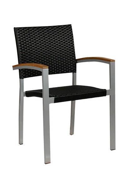 Zahradní židle - křeslo Cenon silver black