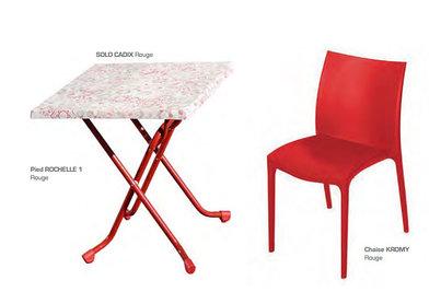 deska CADIX Rouge s podnoží Rochelle 1  a židlí Kromy Rouge