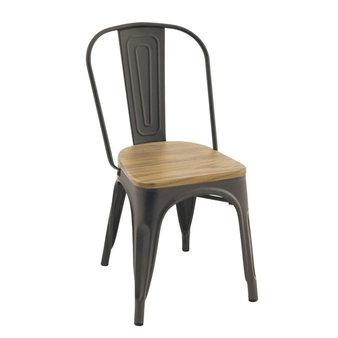 Kovové židle - židle Gustave wood gun metal / natural elm