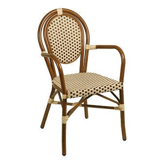 Zahradní židle - židle Lucca Dark beige/brown s područkami