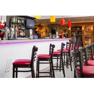 barové židle PUB BST v kombinaci wengé - červená koženka