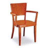 dřevěná židle Josefina s dřevěným  sedákem a područkami