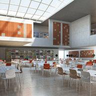 interiér knihovny s akustickými panely STILLY