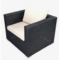 křeslo lounge setu Agathe black 4 ropes / light grey