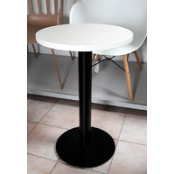 stůl s bílou deskou průměr 50cm a černou podnoží COME 15