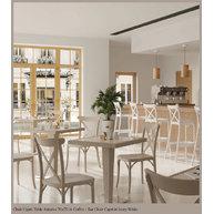 židle Capri a stoly Antares 70x70cm v kavárně