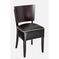 Židle Lido black v černé kožence s paspulí v bílé barvě