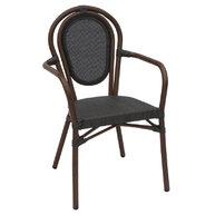 židle Lucca A dark wood textylene black s područkami