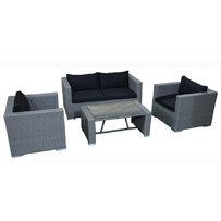 Zahradní lounge sedačky - zahradní lounge set Agathe grey rough / black