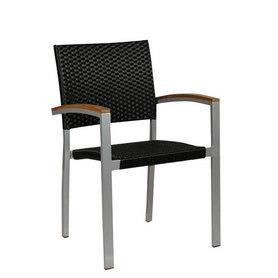 Zahradní židle - křeslo Cenon silver weaving black