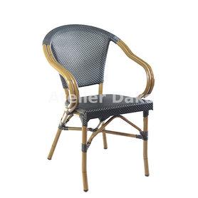 Zahradní židle - křeslo Montmartre Textylene Black / Bamboo look