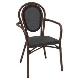 Zahradní židle - židle Lucca A wood Textilene black s područkami